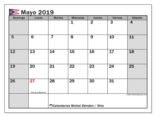 Calendario mayo 2019, con días feriados en Ohio. Calendario para imprimir gratis con días festivos.