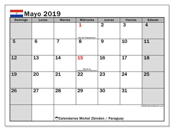 Calendario mayo 2019, con los días feriados en Paraguay. Almanaque para imprimir gratis.
