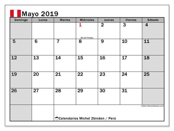 Calendario mayo 2019, con los días feriados para Perú. Almanaque para imprimir gratis.