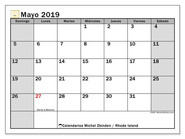 Calendario mayo 2019, con días feriados en Rhode Island. Calendario vacaciones y festivos para imprimir gratis.
