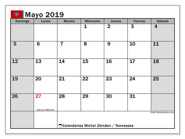 Calendario mayo 2019, con días feriados en Tennessee. Calendario para imprimir gratis con días festivos.