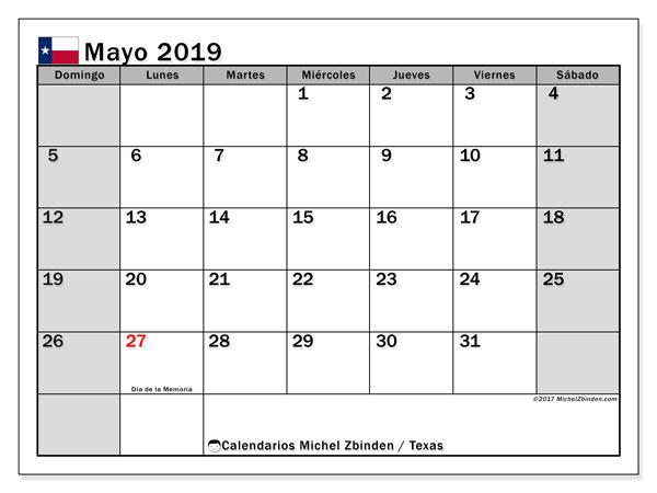 Calendario mayo 2019, con días feriados en Texas. Calendario para imprimir gratis con días festivos.