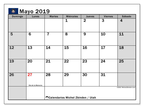 Calendario mayo 2019, con los días feriados en Utah. Calendario mensual para imprimir gratis.