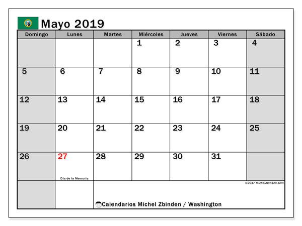 Calendario mayo 2019, con los días feriados en Washington. Calendario gratuito para imprimir.