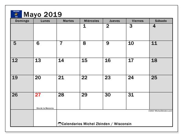 Calendario mayo 2019, con días feriados en Wisconsin. Calendario vacaciones y festivos para imprimir gratis.