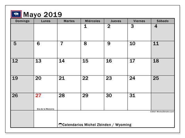 Calendario mayo 2019, con los días feriados en Wyoming. Calendario imprimible gratis.