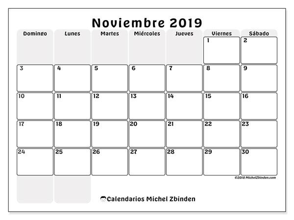 Calendario Noviembre 2019.Calendarios Noviembre 2019 Ds Michel Zbinden Es