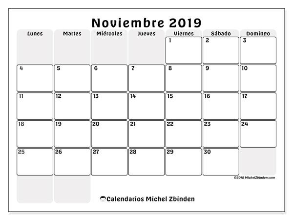 Calendario noviembre 2019, 44LD. Calendario imprimible gratis.