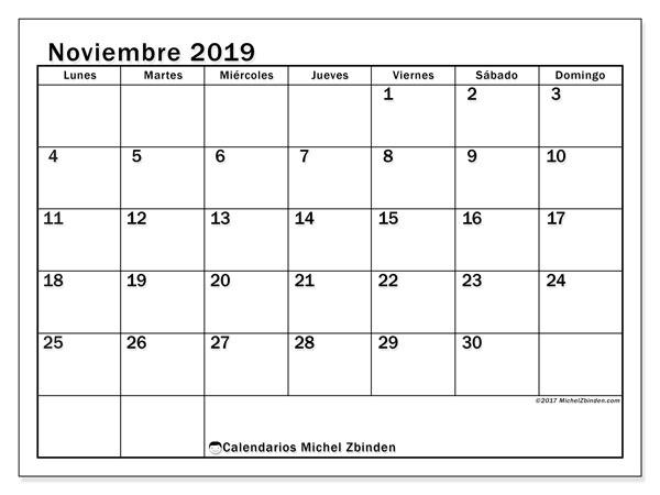 Calendario noviembre 2019, 50LD. Almanaque para imprimir gratis.