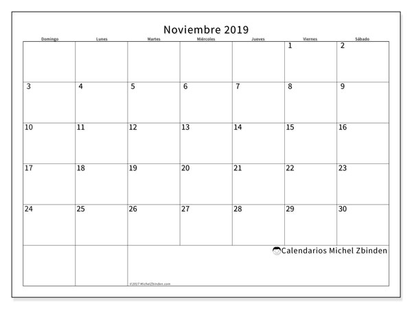 Calendarios para imprimir 2019 (DS). Calendario 53DS.