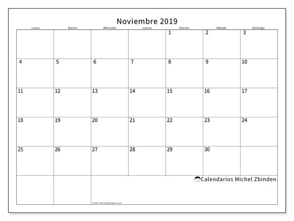 Calendario noviembre 2019, 53LD. Calendario imprimible gratis.