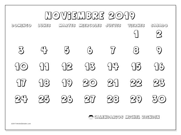 Calendario noviembre 2019, 56DS. Calendario mensual para imprimir gratis.