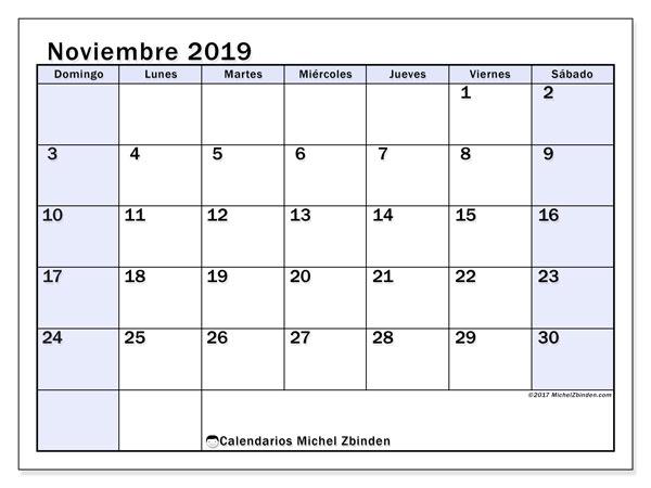 Calendario noviembre 2019, 57DS. Planificación para imprimir gratis.