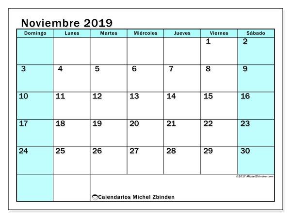 Calendario noviembre 2019, 59DS. Planificación para imprimir gratis.