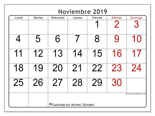 Calendario noviembre 2019, 62LD. Calendario mensual para imprimir gratis.