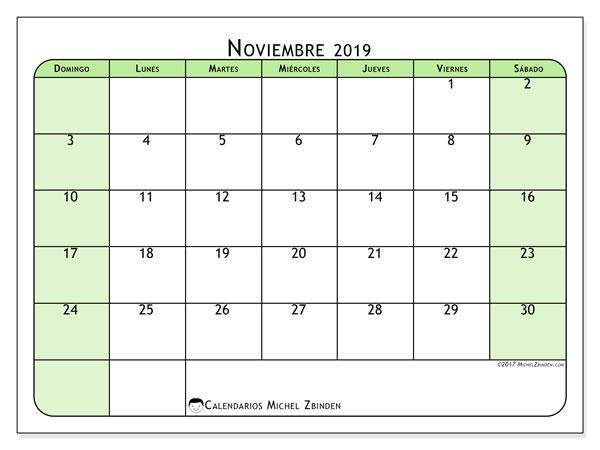 Calendario noviembre 2019, 65DS. Calendario mensual para imprimir gratis.