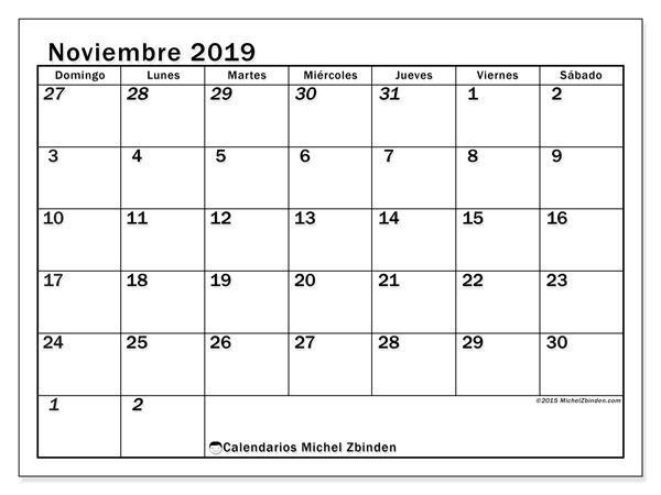 Calendario noviembre 2019, 66DS. Almanaque para imprimir gratis.