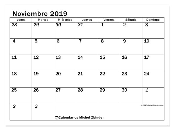 Calendario noviembre 2019, 66LD. Calendario imprimible gratis.