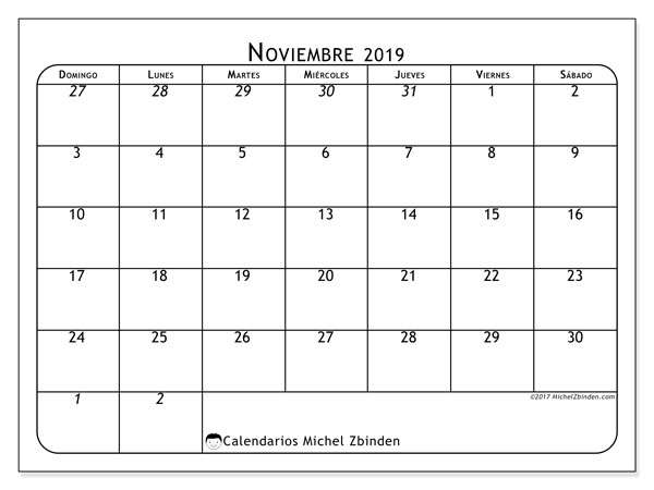 Calendario noviembre 2019, 67DS. Calendario gratuito para imprimir.