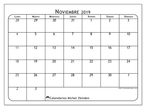 Calendario noviembre 2019, 67LD. Calendario para el mes para imprimir gratis.