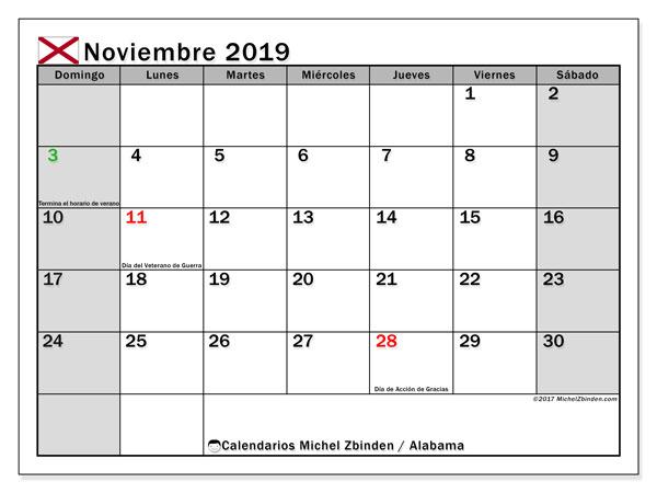 Calendario noviembre 2019, con días feriados de Alabama. Calendario para imprimir gratis con días festivos.