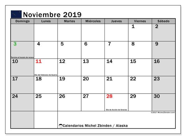 Calendario noviembre 2019, con días feriados en Alaska. Calendario para imprimir gratis con días festivos.