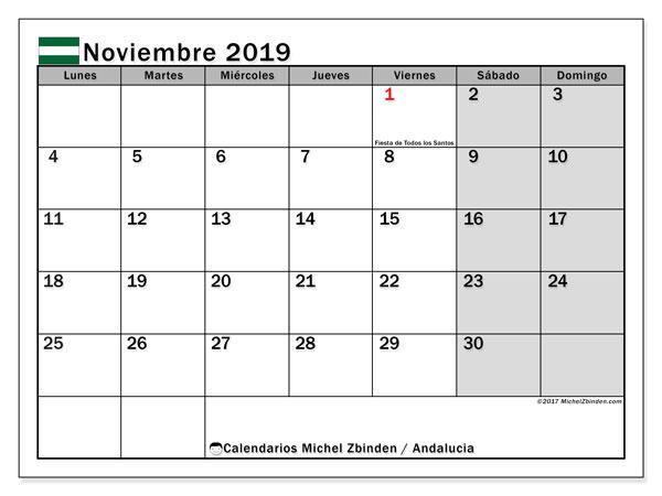 Calendario noviembre 2019, con días feriados en Andalucía. Calendario vacaciones y festivos para imprimir gratis.