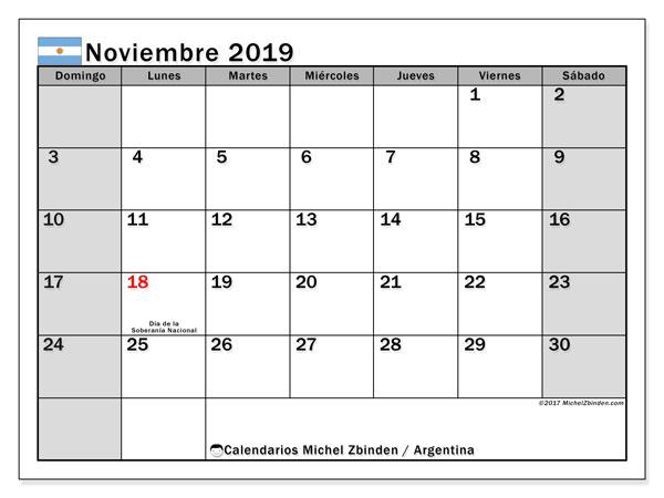 Calendario noviembre 2019, con los días feriados en Argentina. Calendario gratuito para imprimir.