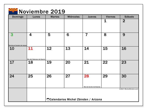 Calendario noviembre 2019, con días feriados en Arizona. Calendario vacaciones y festivos para imprimir gratis.