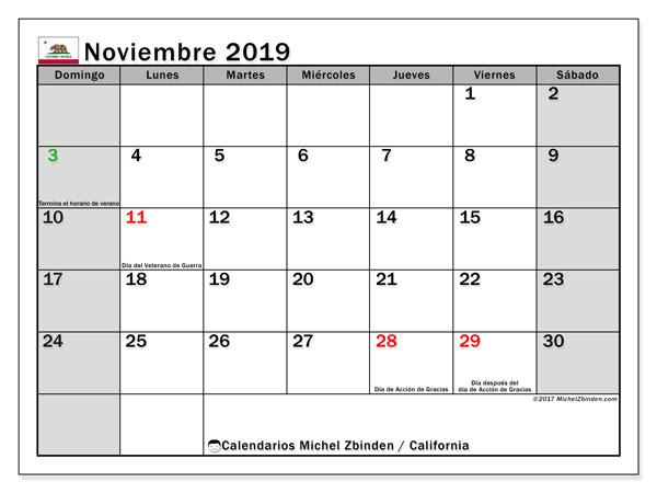 Calendario noviembre 2019, con días feriados de California. Calendario vacaciones y festivos para imprimir gratis.