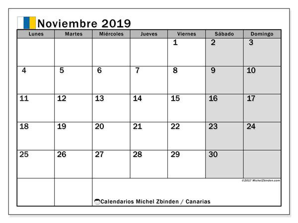Calendario noviembre 2019, con los días festivos de las Islas Canarias. Calendario para el mes para imprimir gratis.
