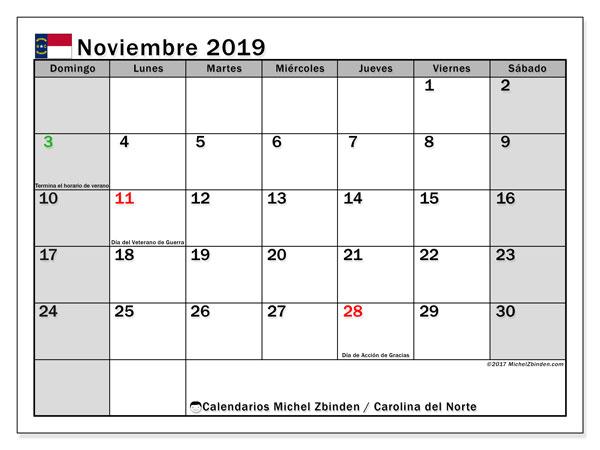 Calendario noviembre 2019, con días feriados en Carolina del Norte. Calendario vacaciones y festivos para imprimir gratis.