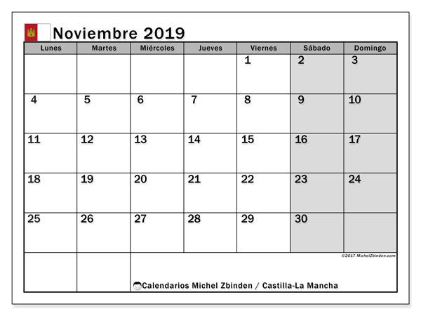 Calendario noviembre 2019, con días feriados en Castilla-La Mancha. Calendario vacaciones y festivos para imprimir gratis.