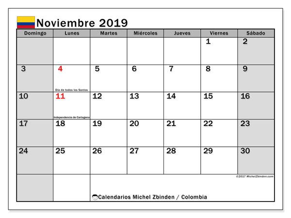 Calendario noviembre 2019, con los días festivos en Colombia. Calendario mensual para imprimir gratis.