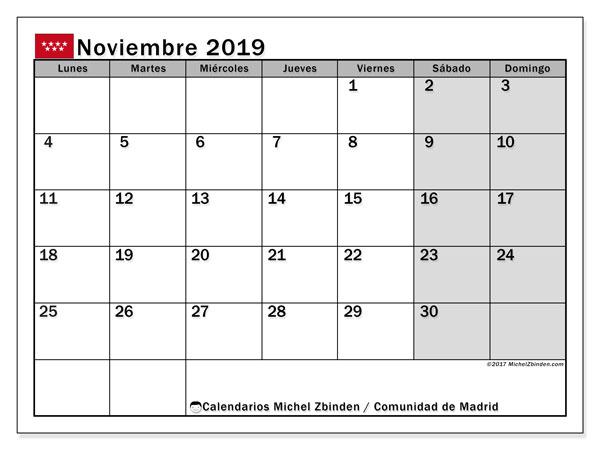 Calendario noviembre 2019, con días feriados de la Comunidad de Madrid. Calendario vacaciones y festivos para imprimir gratis.