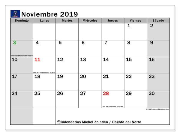 Calendario noviembre 2019, con días feriados en Dakota del Norte. Calendario para imprimir gratis con días festivos.