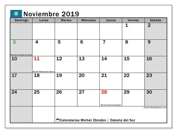 Calendario noviembre 2019, con días feriados en Carolina del Sur. Calendario vacaciones y festivos para imprimir gratis.