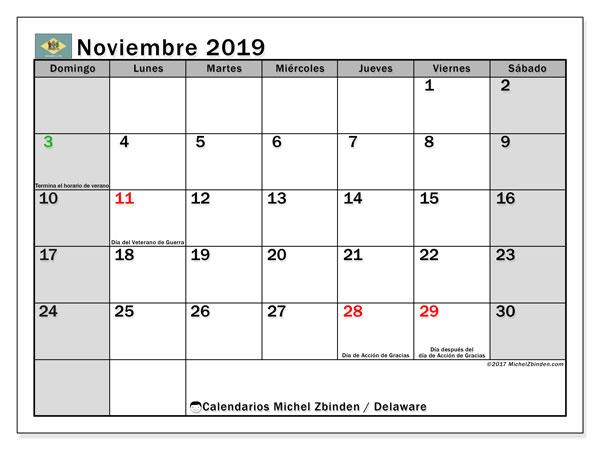 Calendario noviembre 2019, con días feriados en Delaware. Calendario vacaciones y festivos para imprimir gratis.