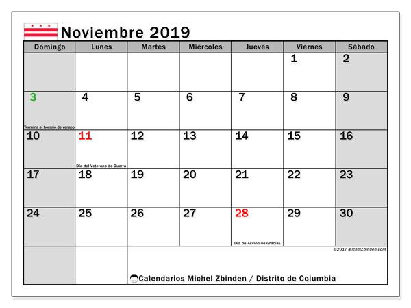 Calendario noviembre 2019, con días feriados del Distrito de Columbia. Calendario para imprimir gratis con días festivos.