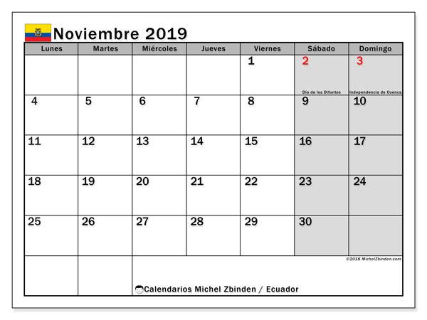 Calendario noviembre 2019, con días feriados en Ecuador. Calendario vacaciones y festivos para imprimir gratis.