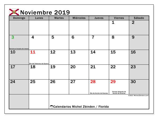 Calendario noviembre 2019, con días feriados en Florida. Calendario vacaciones y festivos para imprimir gratis.