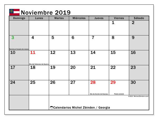Calendario noviembre 2019, con días feriados en Georgia. Calendario para imprimir gratis con días festivos.
