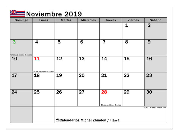 Calendario noviembre 2019, con días feriados en Hawái. Calendario para imprimir gratis con días festivos.