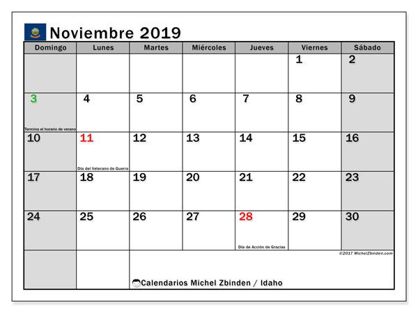 Calendario noviembre 2019, con días feriados de Idaho. Calendario para imprimir gratis con días festivos.
