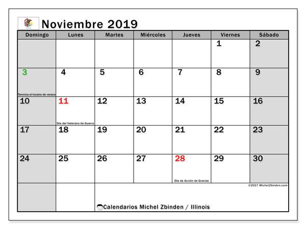 Calendario noviembre 2019, con días feriados en Illinois. Calendario para imprimir gratis con días festivos.