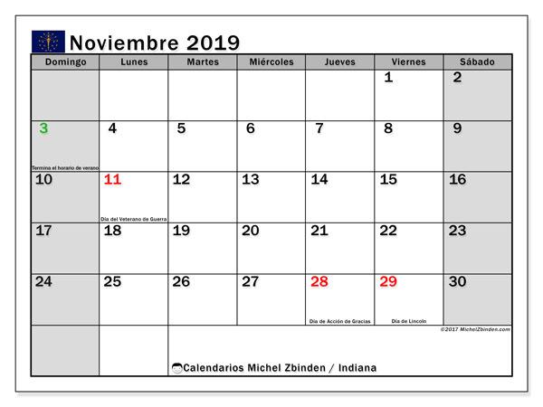 Calendario noviembre 2019, con días feriados de Indiana. Calendario vacaciones y festivos para imprimir gratis.