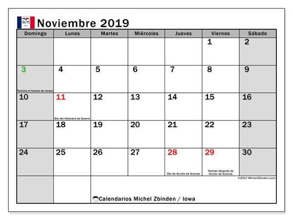 Calendario noviembre 2019, con días feriados de Iowa. Calendario vacaciones y festivos para imprimir gratis.