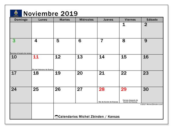 Calendario noviembre 2019, con días feriados de Kansas. Calendario vacaciones y festivos para imprimir gratis.