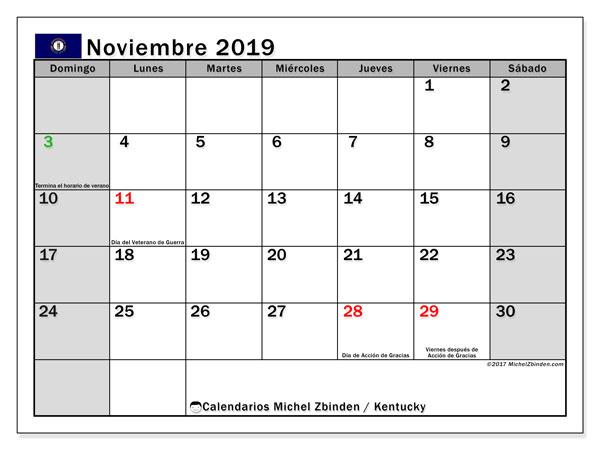 Calendario noviembre 2019, con días feriados de Kentucky. Calendario para imprimir gratis con días festivos.