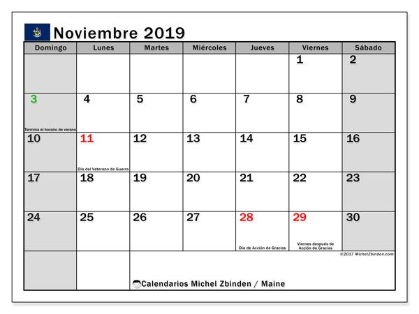 Calendario noviembre 2019, con días feriados de Maine. Calendario vacaciones y festivos para imprimir gratis.